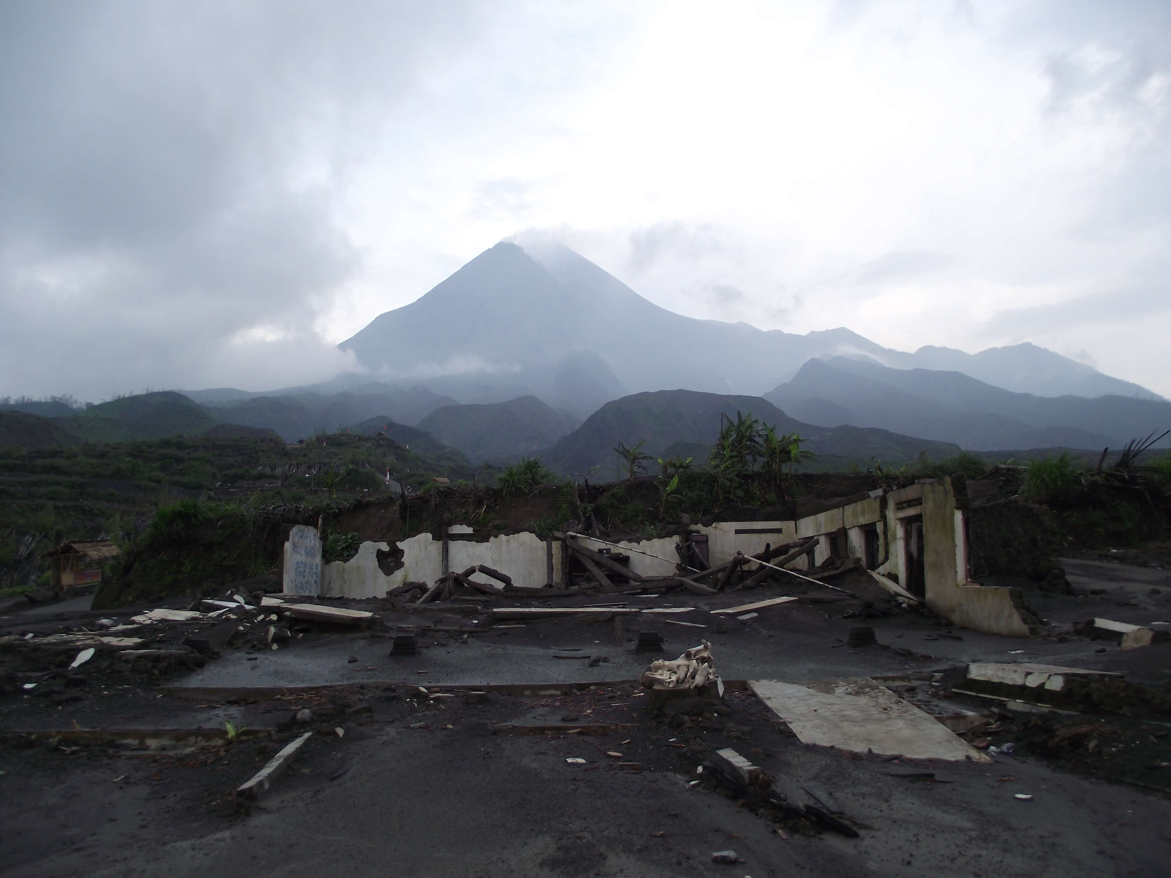 Kinahrejo village was destroyed by pyroclastic surges on 26 October 2010, killing more then 30 people. Photo taken in Feb. 2011 (K. Preece)