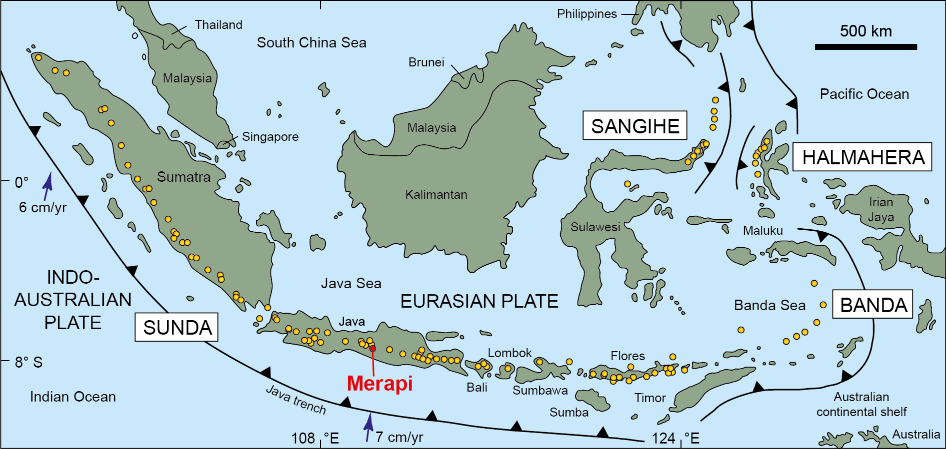 Map of Indonesian subduction zone system showing the distribution of active volcanoes and the location of Merapi. Figure is modified after Gertisser + Keller (2003) Journal of Petrology 44, 457 - 489